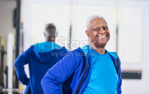 istock Senior African-American man standing in gym 915002116