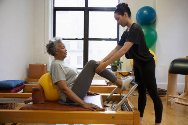 Senior african-american  woman doing exercise
