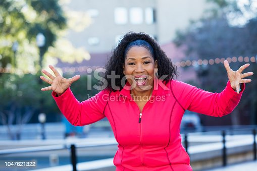 657442382istockphoto Senior African-American woman exercising in city 1047621322