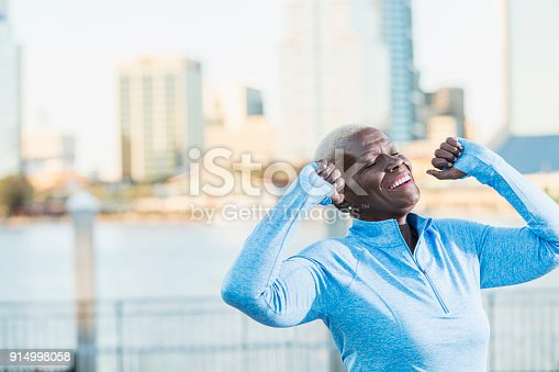 istock Senior African-American woman outdoors, big smile 914998058