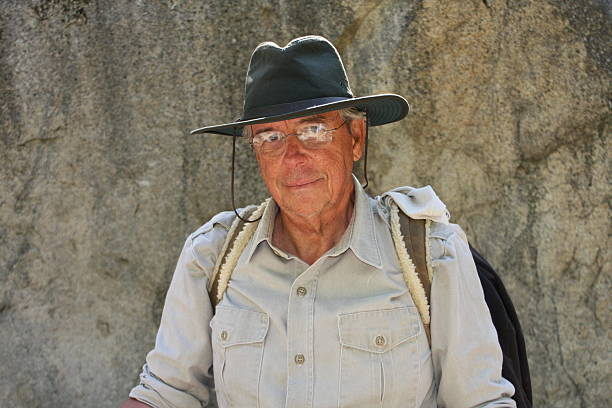 Senior Aged Male Wilderness Hiker stock photo