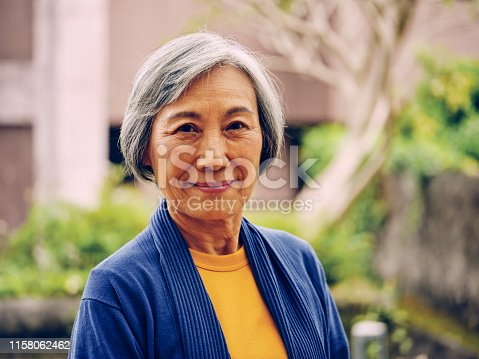 A portrait of a senior aged Taiwanese woman in Taipei Taiwan.