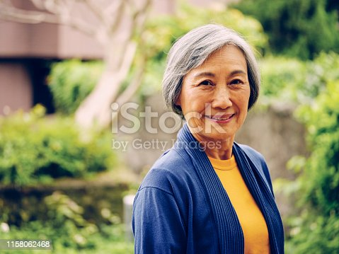 A portrait of a senior aged Taiwanese woman in Taipei Taiwan.