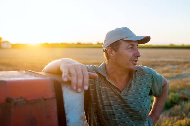 Hombre ingeniero agrónomo Senior de pie en un campo que se inclina contra el viejo tractor después de la cosecha al atardecer. - foto de stock
