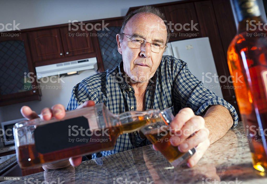 Senior alcohol abuse royalty-free stock photo