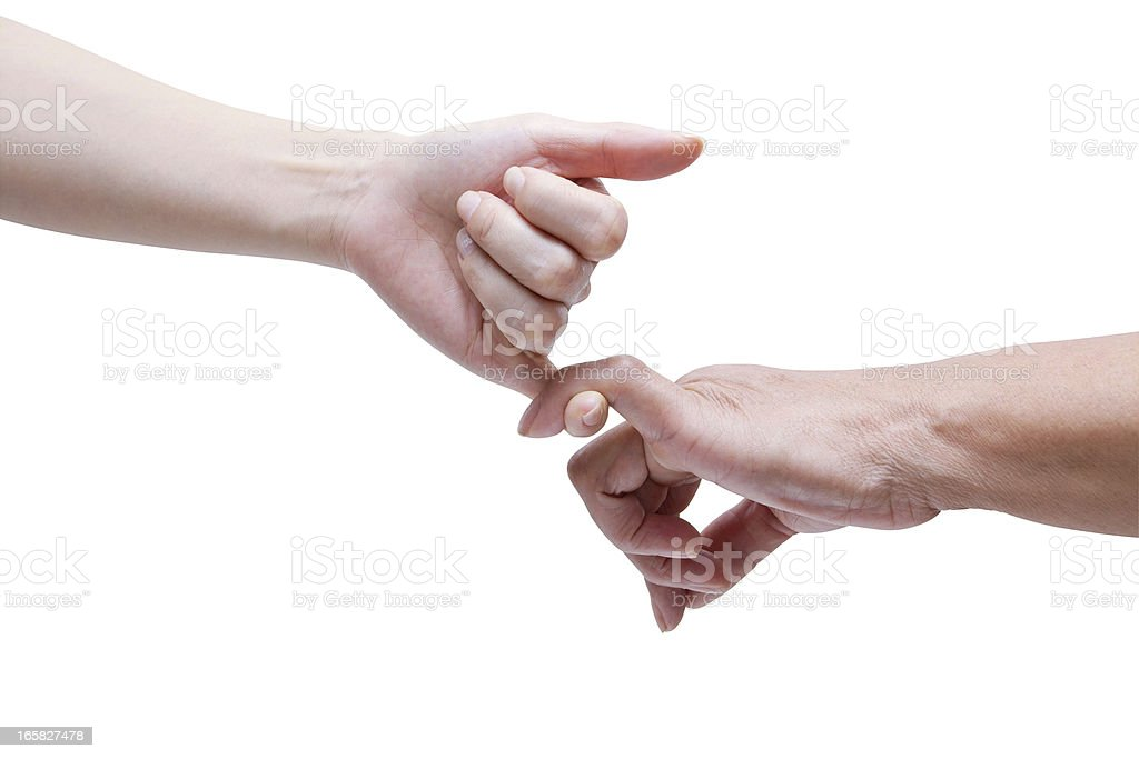 Senior and Young Hands Promise (Clipping Path!) isolated on white stock photo