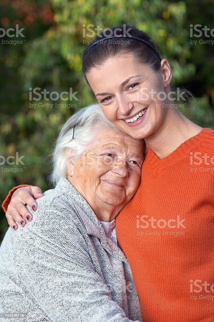 Senior and young royalty-free stock photo