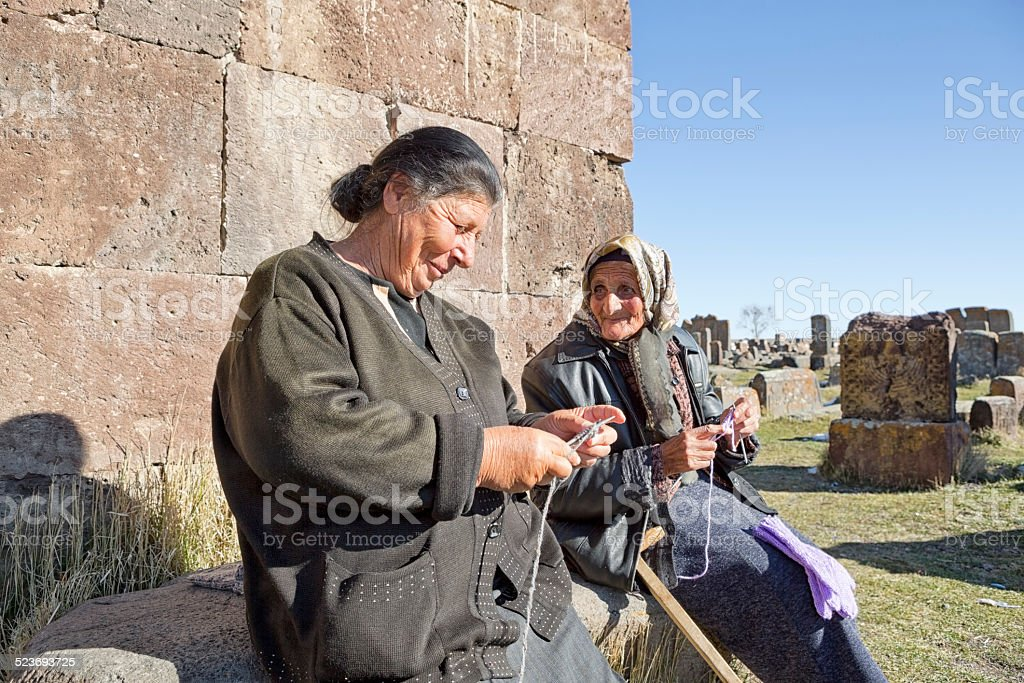Senior Armenian Women Knitting and Talking stock photo