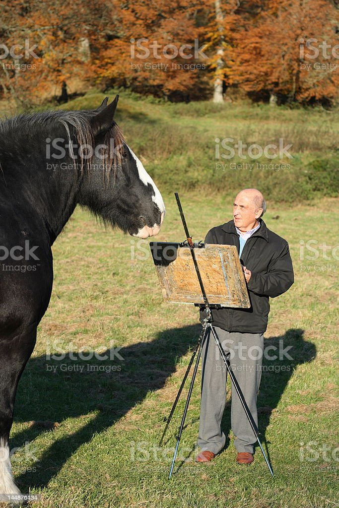 Senior artist sketching a curious horse royalty-free stock photo