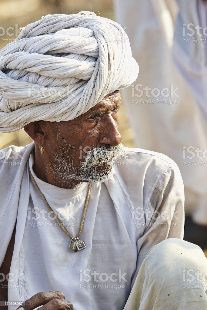Senior asian bedouin man portrait stock photo