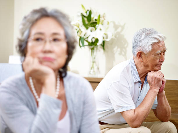 senior asian couple angry with each other senior asian couple having relationship problem angry with each other. asian couple arguing stock pictures, royalty-free photos & images