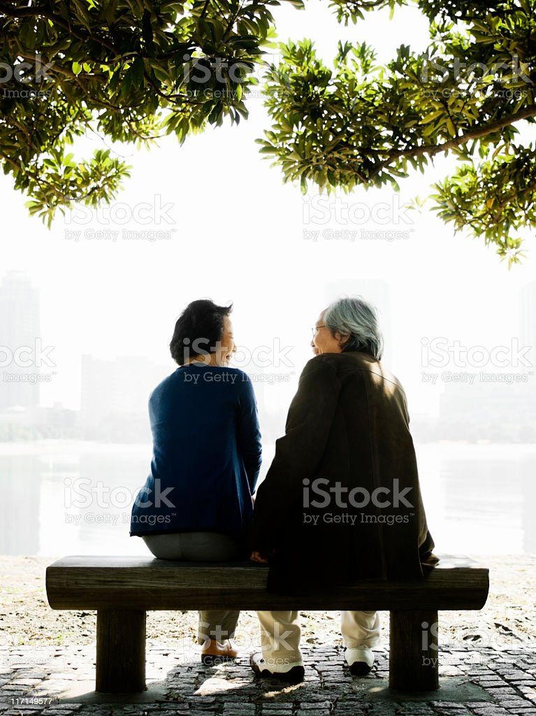 Senior Asian Couple on a Park Bench royalty-free stock photo