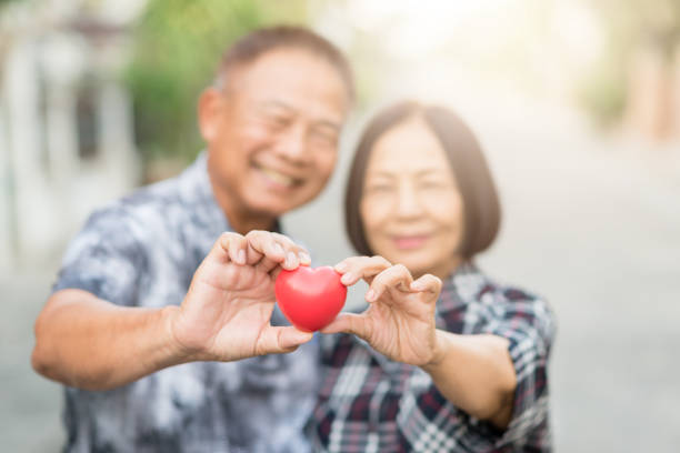 senior asian couple smiling while holding heart - senior valentine stock photos and pictures