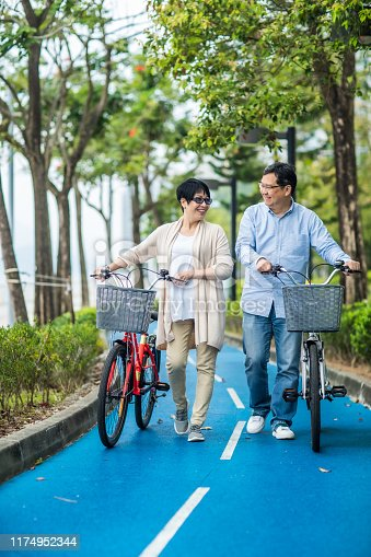istock Senior asian couple with bicycles in the park. 1174952344