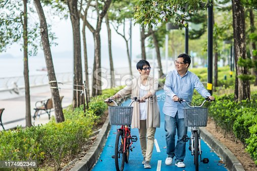 istock Senior asian couple with bicycles in the park. 1174952349