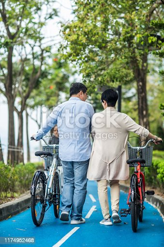 istock Senior asian couple with bicycles in the park. 1174952468