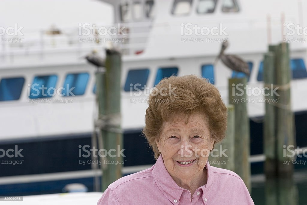 Senior at marina royalty-free stock photo