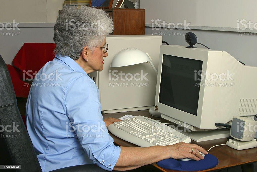 Senior at the Computer royalty-free stock photo