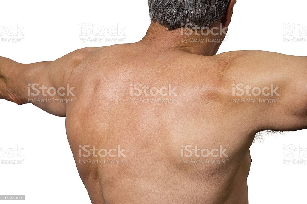 Senior Athlete - Upper Back (clipping path) stock photo