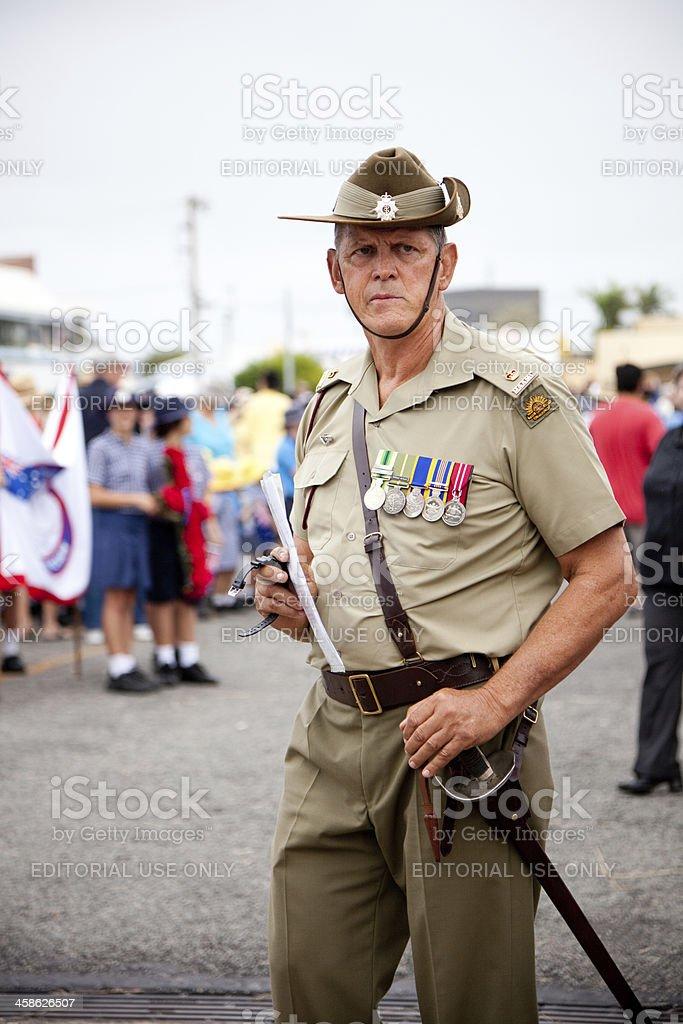 Senior Australian Soldier on Anzac Day stock photo