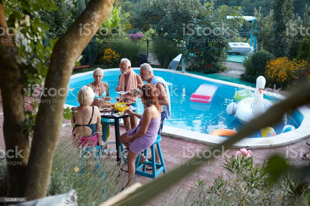 Senior BBQ Party By The Pool stock photo