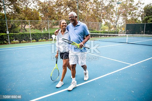 istock Senior Black Couple Walking Off the Tennis Court 1058169246