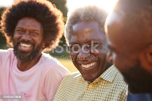 istock Senior black man laughing with his two adult sons, close up 1045347808