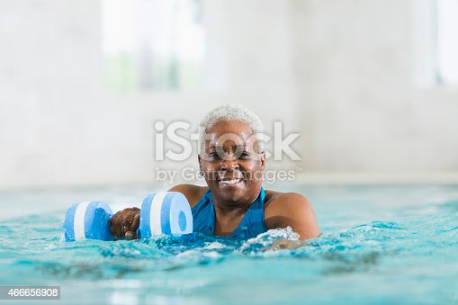 612839448istockphoto Senior black woman exercising, doing water aerobics 466656908