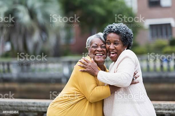 Senior Black Women Embracing Stock Photo - Download Image Now