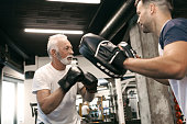 Senior Boxing with trainer