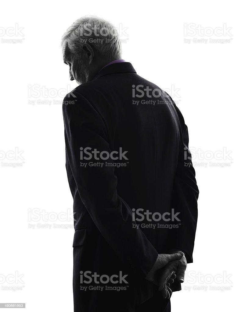 senior business man sad rear view silhouette stock photo