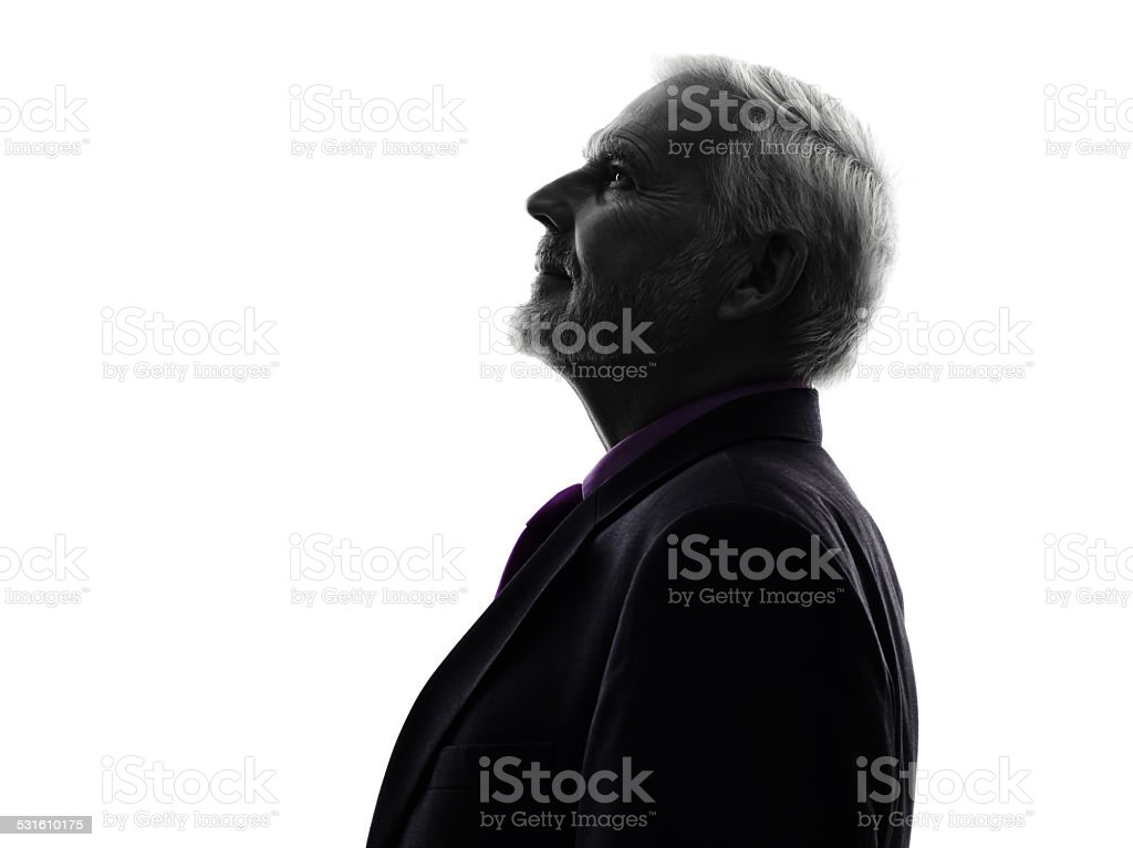 senior business man silhouette stock photo
