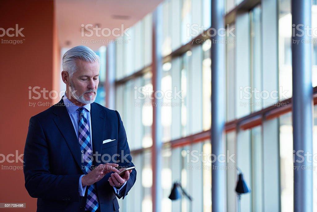 senior Geschäftsmann sprechen auf Mobiltelefon – Foto