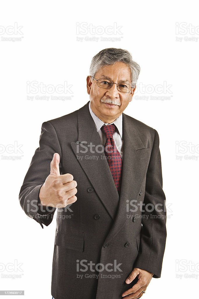 senior business man with thumbs up royalty-free stock photo