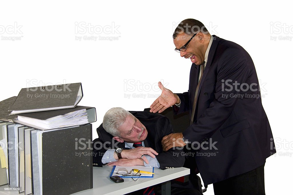 senior businessman being caught while sleeping royalty-free stock photo
