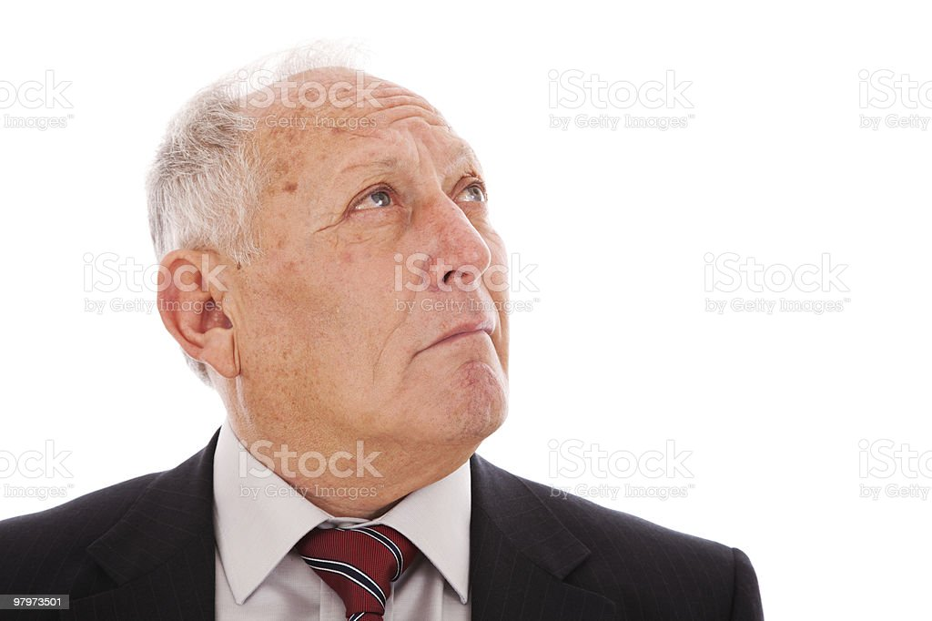 senior businessman looking up royalty-free stock photo