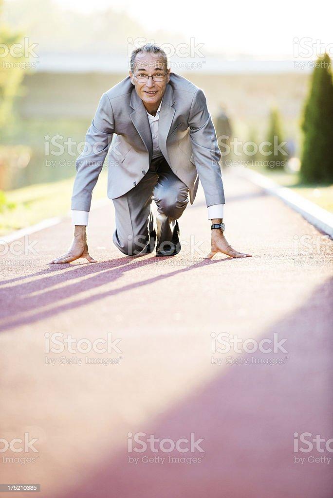 Senior businessman on a marathon. royalty-free stock photo
