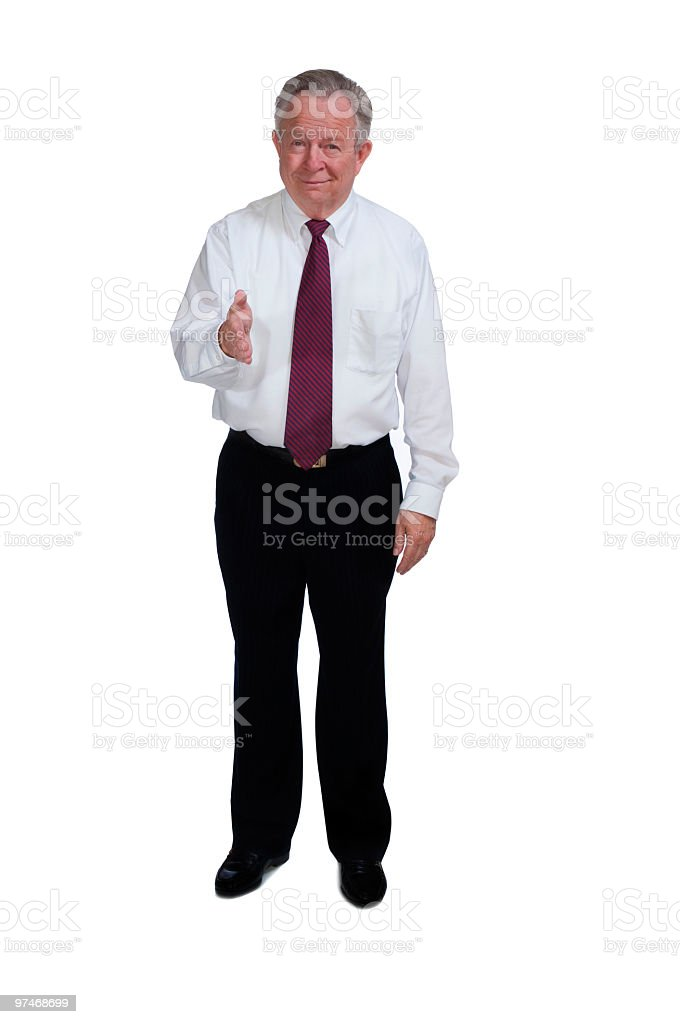Senior Businessman or Executive Extending Welcome Handshake royalty-free stock photo