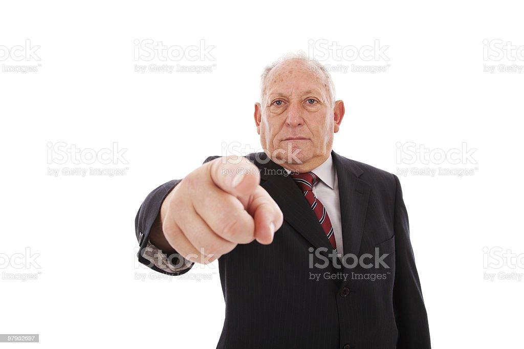 senior businessman pointing royalty-free stock photo