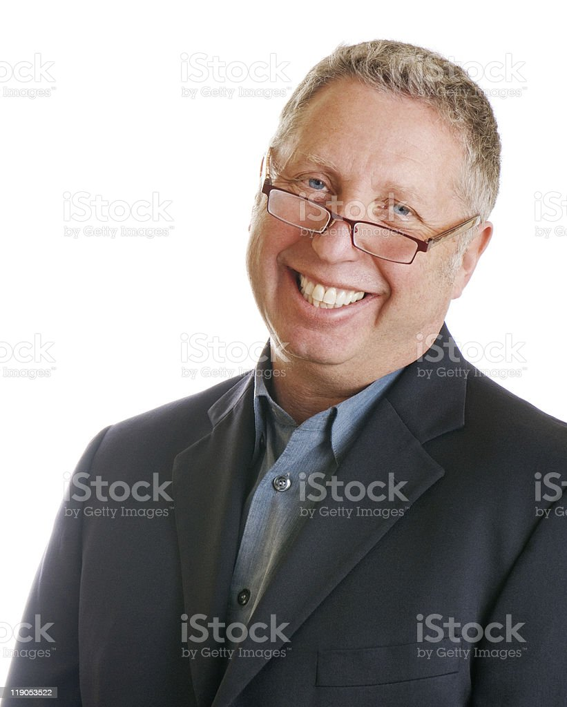 Senior Businessman Smiling And Wearing Glasses stock photo