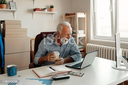 Portrait of Handsome Active Senior Businessman Working in Office. Caucasian Elderly Male Working From Home Office.