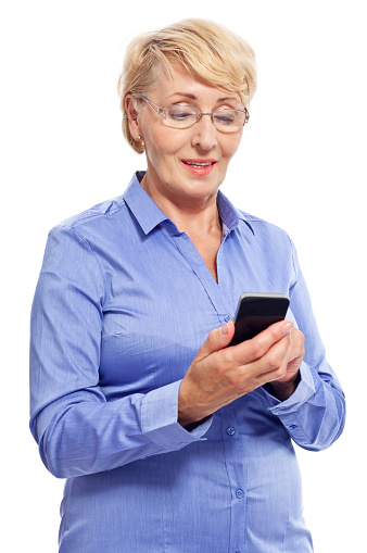 Senior Businesswoman With Smart Phone Stock Photo - Download Image Now