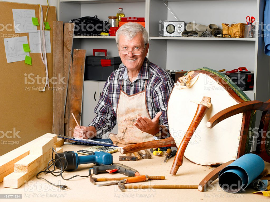 Senior carpenter stock photo