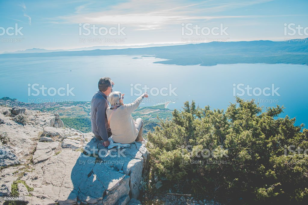 Senior Caucasian Couple on Vidova Gora, Brac, Dalmatia, Croatia, Europe – Foto