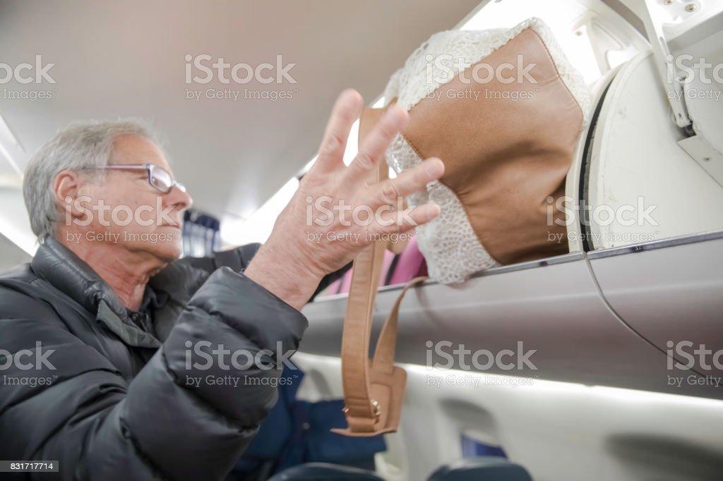 Senior caucasian male traveling stock photo