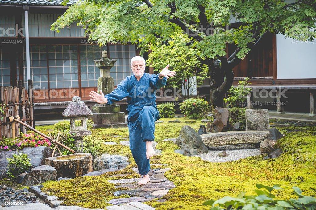 Senior Caucasian Man Exercising Karate in Buddhist Temple, Kyoto, Japan royalty-free stock photo
