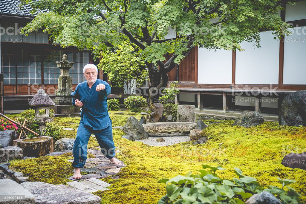 Senior Caucasian Man Exercising Karate in Buddhist Temple, Kyoto, Japan Lizenzfreies stock-foto