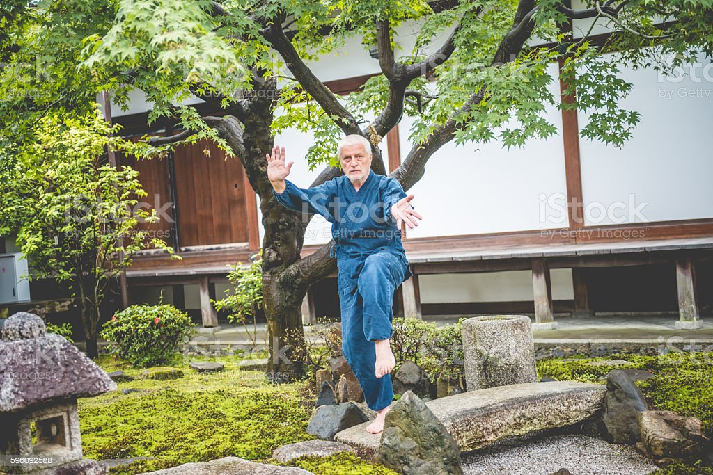 Senior Caucasian Man Exercising Karate in Buddhist Temple, Kyoto, Japan Lizenzfreies stock-foto