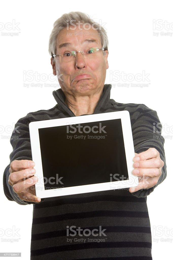 Senior Caucasian man portrait series, showing tablet computer royalty-free stock photo
