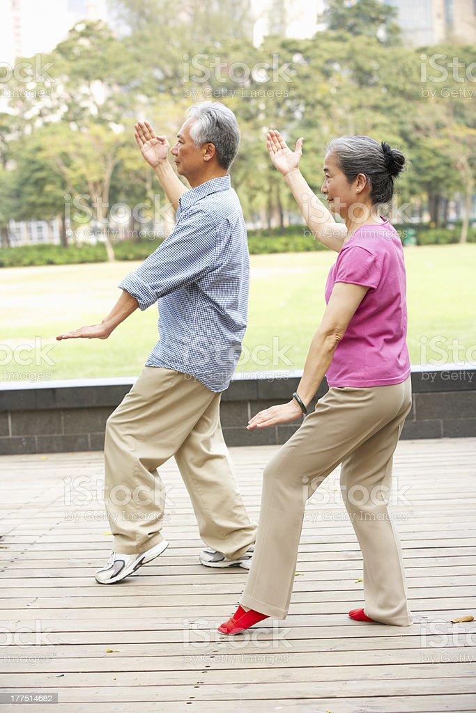 Senior Chinese Couple Doing Tai Chi In Park stock photo